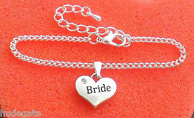 Silver Plated Charm Bracelet with Heart Wedding Favour, Hen Night, Birthday Gift