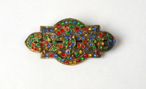Vintage Art Deco Multi Color Rhinestone Brooch Pin