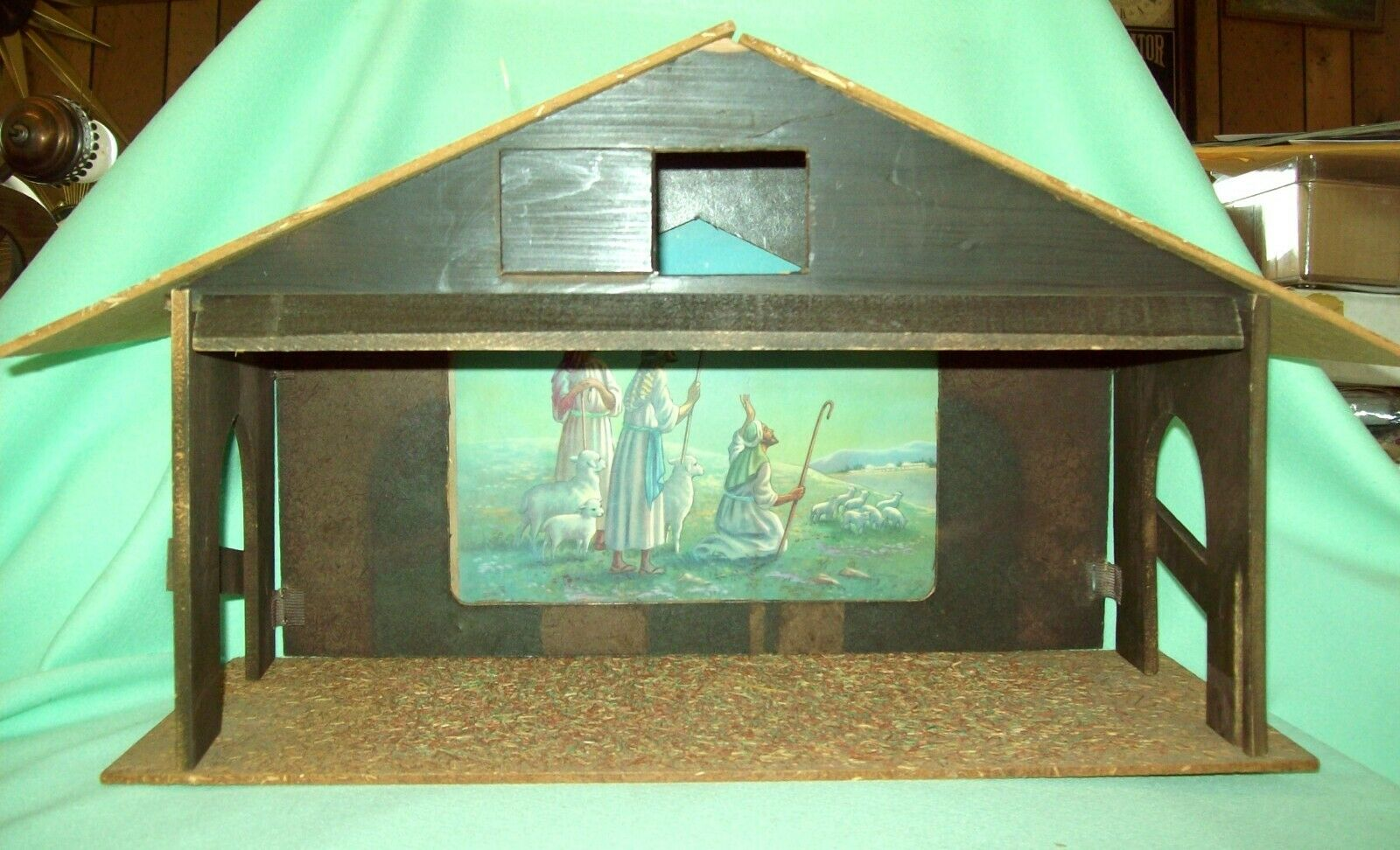Vintage Nativity Creche Manger Stable FOLDING with Printed Back drop VERY NEAT