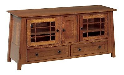 Amish Console - Amish TV Stand Console Arts & Crafts Craftsman Solid Wood 60