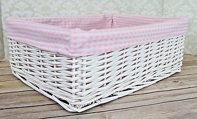 White Wicker Basket & PINK GINGHAM Lining - Nursery Storage Gift Hamper - 41cm ()