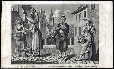 HAMBURG - Berufsdarstellungen Fischfrau - Blumenmädchen Auquatinta 1836 - Orig.!