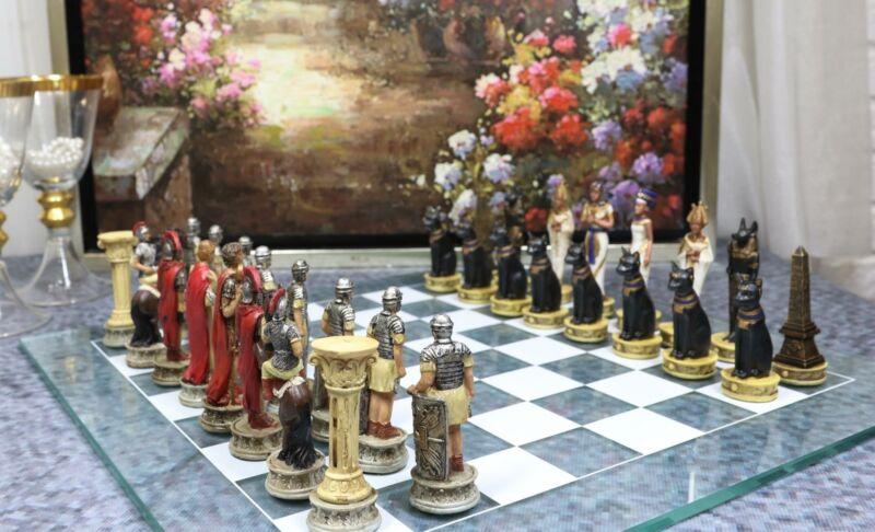 Ebros Pharaoh Egyptian VS Caesar Roman Empire Resin Chess Pieces W/ Glass Board