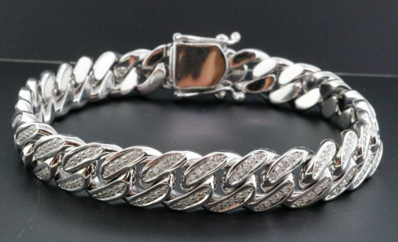 "Miami Cuban Diamond Bracelet Mens 10k White Gold 9"" Pave Bangle Round Cut 2 Ct."