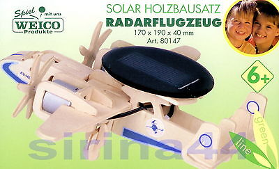 "3D-Puzzle Holzbausatz ""Radarflugzeug"" Holz 17x19x4 cm mit Solarmotor ab 6 Jahre"