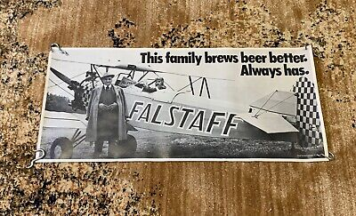 "Vintage 1950s-60s Falstaff Beer Airplane Poster Sign 27.5""x12.5"" Scarce"
