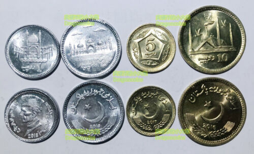Pakistan set of 4 coins new issue series 1 2 5 10 rupees UNC