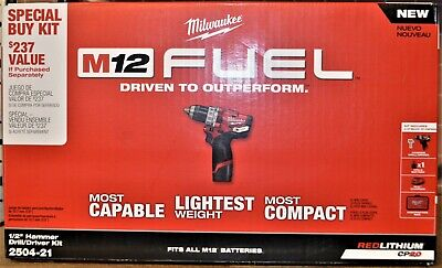 Milwaukee 2504-21 12v Fuel Cordless 12 Hammer Drill Kit - New