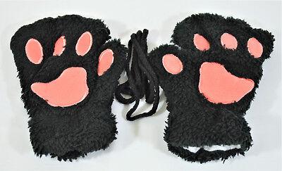 GLOVES BEAR CAT PAW FAUX FUR WINTER WEAR COSPLAY BLACK, COSTUME WINTER GIFT WARM](Cat Gloves Costume)