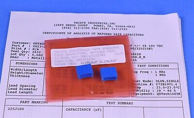 Precision Matched Pair Reference Standard Capacitors 2.2000uf 0.02 Tolerance