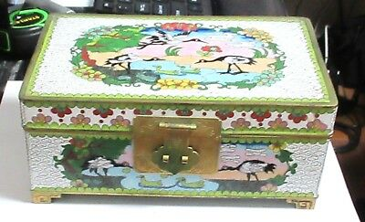 LARGE CHINESE CLOISONNE WHITE ENAMEL FLORAL TRUNK JEWELER CHEST BOX