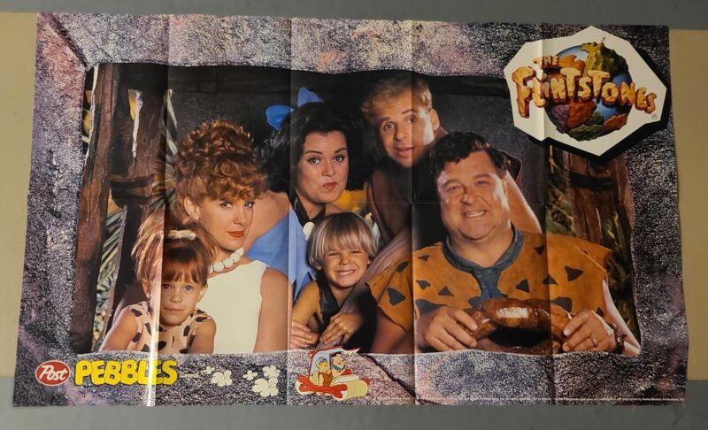 "Vintage 1994 Post Fruity Pebbles ""The Flintstones"" Movie Poster - 35.5"" X 21.25"""