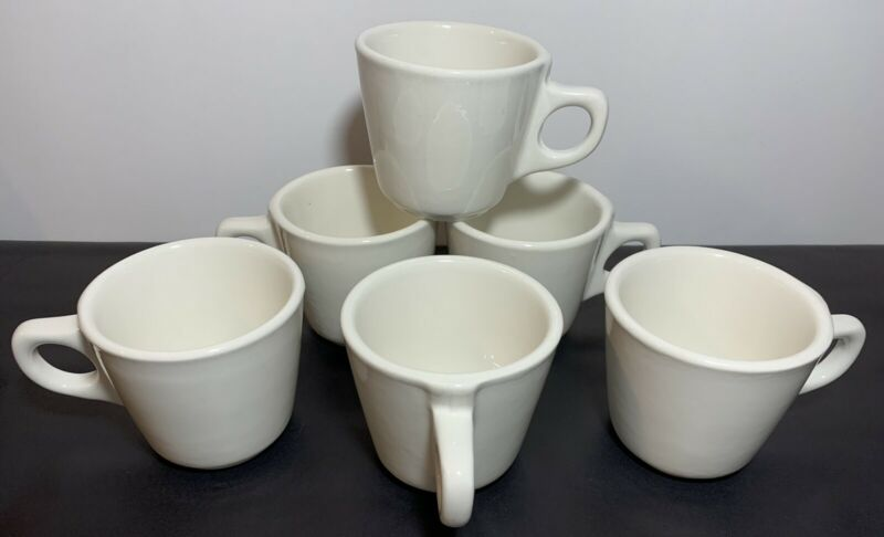 6 Buffalo China Restaurant Ware/ Retro Diner Off White Chunky Coffee/Tea Mugs