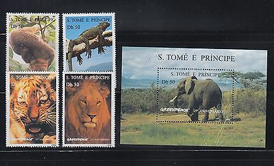 St Thomas 1996 Endangered Animals Greenpeace Sc 1237-1241  Mint Never Hinged