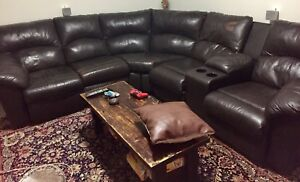 Real leather 3 recliner sectional for sale !