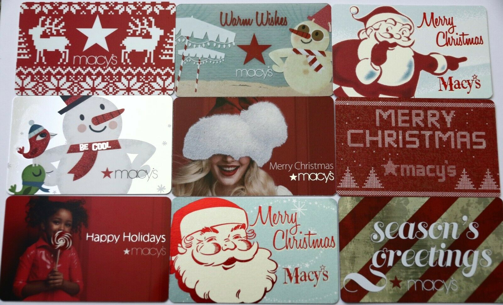 9 Macy s Department Store Christmas Holidays Empty Gift Card Collectible Lot New - $7.99