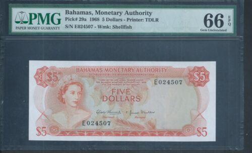BAHAMAS $5 P29a 1968 PMG 66 EPQ Gem Unc