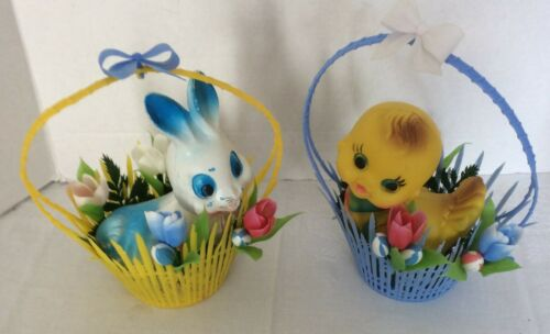 Vintage Plastic Easter Blue Basket w/ Chick- Yellow Basket w/ Bunny sm blow mold