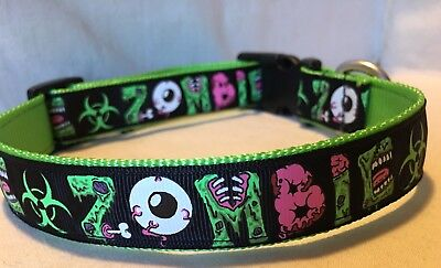 "Zombie 80's Retro Black 1""Adjustable Dog Collar Apocalypse Undead Walkers"