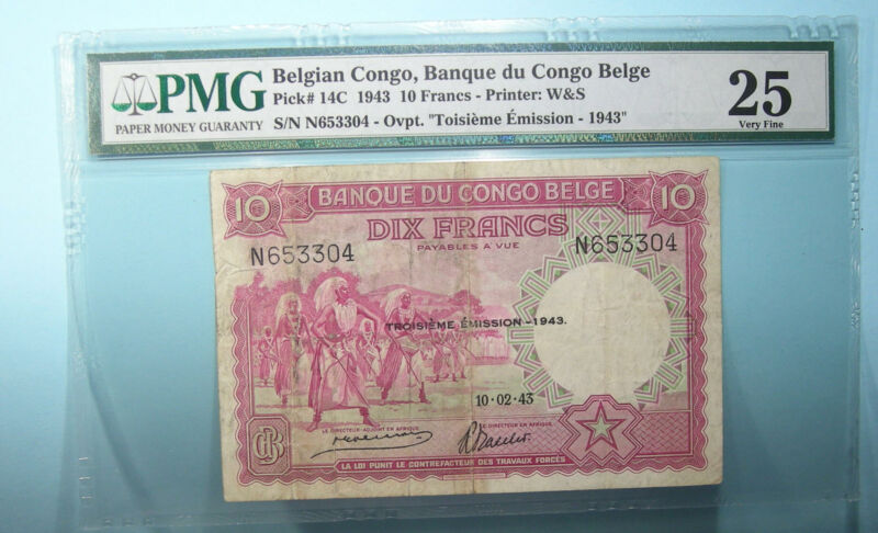 1943 BELGIAN CONGO 10 FRANCS P14c PMG VERY FINE 25 INV#PM105-26