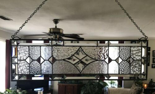 Transom Stained Glass Window Panel w/Bevels Clear Glass Textures, approx. 24 x 7