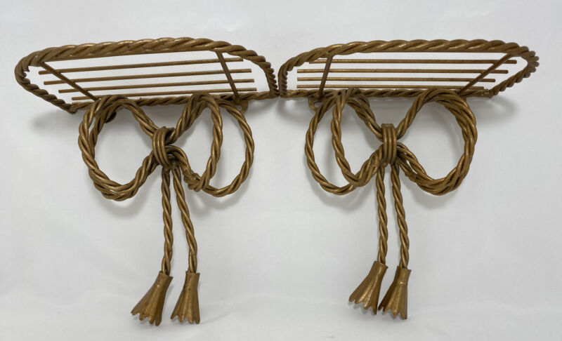 """2 Home Interior Gold Metal Twisted Rope Ribbon Bow Shelves Vintage 7.25""""H x 7""""W"""