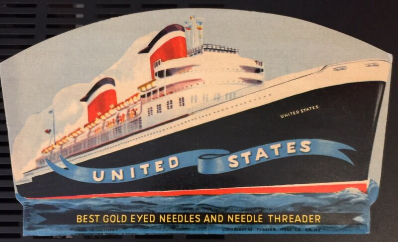 Vintage Cruise Ship Sewing Kit; Queen Mary, Cunard's, Queen Elizabeth?
