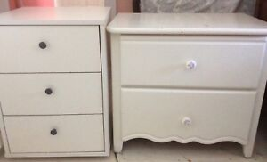 IKEA chest of drawers on wheels/ white night table