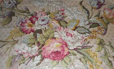 Vintage cotton grey floral pink raspberry yellow white tropical cottage peonies