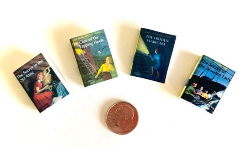 Dollhouse Miniature Nancy Drew Mysteries - 4 vintage style books - Collection 1