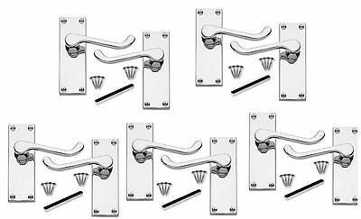 5 Sets /Pairs of Polished Chrome Victorian Scroll Lever Latch Door Handles 112mm