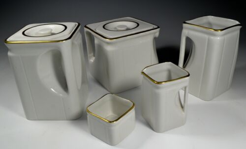 Vintage Cubist Ocean Liner Cunard Tea Set Modernism Porcelain Art Deco 1930 Mint