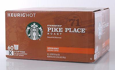 Starbucks Coffee Pike Place Medium Smooth Roast Arabica 60 K-Cup Pods KEURIG HOT