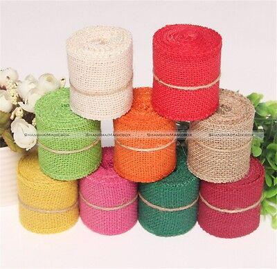 9 Colors Lace Ribbon Jute Burlap Hessian with Trims Tape Rustic Wedding 2M S7](Ms Ribbon Color)