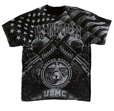 Usmc United States Marine Corp T Shirt First In Last Out Tee