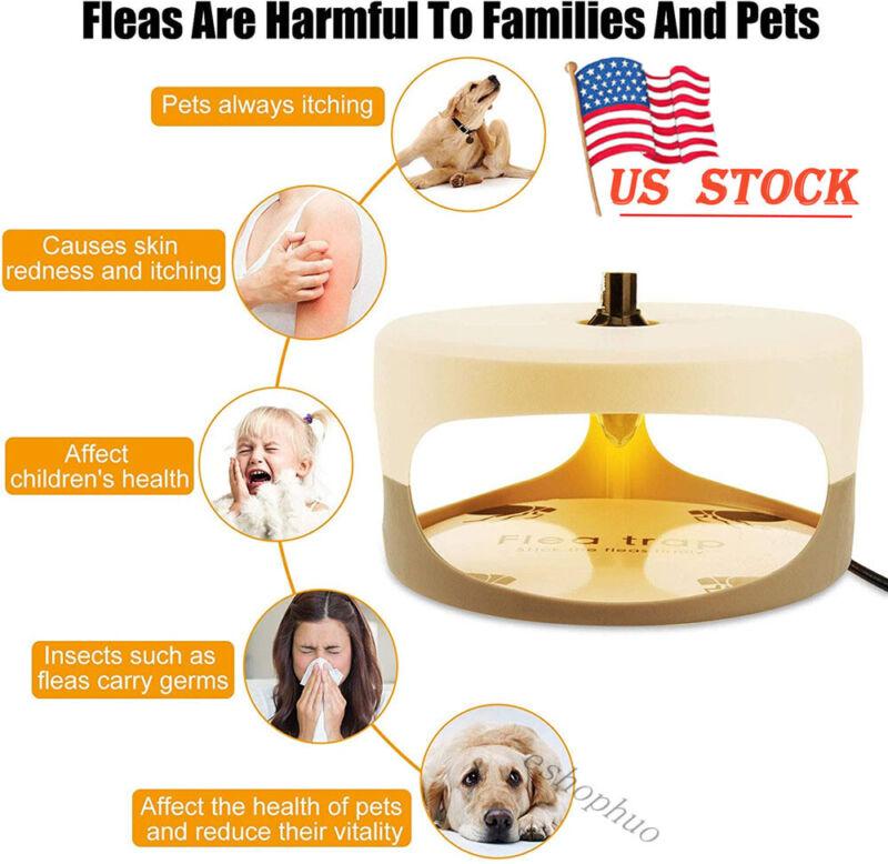 Electric Flea Trap Killer Home Pest Control Sticky Discs Spare Lamp Poison