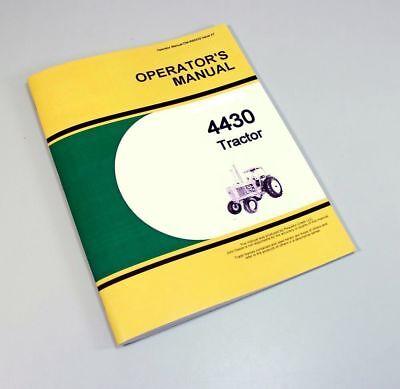Operators Manual For John Deere 4430 Tractor Owners Book Maintenance Adjust