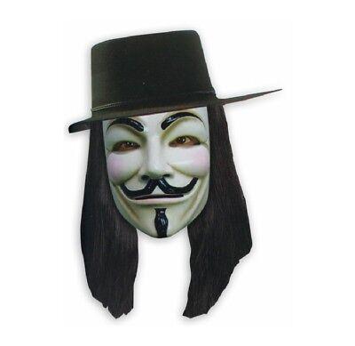 V wie Vendetta 3 tlg. Set Kostüm, Hut, Perücke und Maske Halloween Fasching NEU