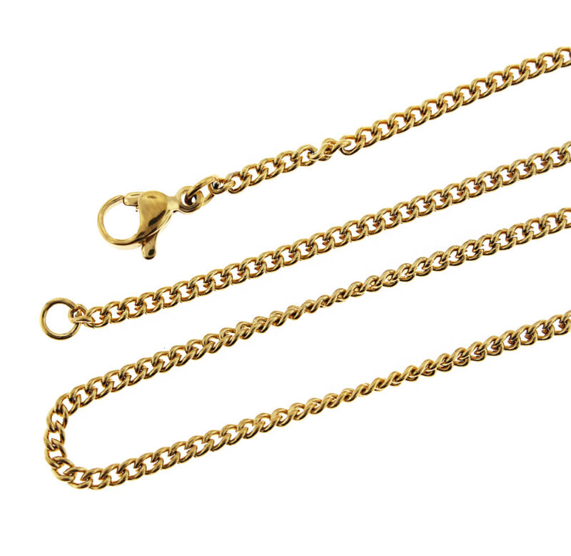 "Gold Stainless Steel Curb Chain Necklace 18"" - 2mm - 1 Necklace - N588"