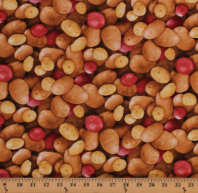 (Potatoes Red Potato Vegetables Food Country Cotton Fabric Print BTY D582.49)