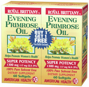 Evening Primrose Oil 1300mg Royal Brittany Twin Pack American Health Products 60
