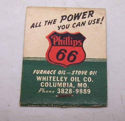 Vintage WHITELEY OIL CO Matchbook PHILLIPS 66 Columbia MO Missouri
