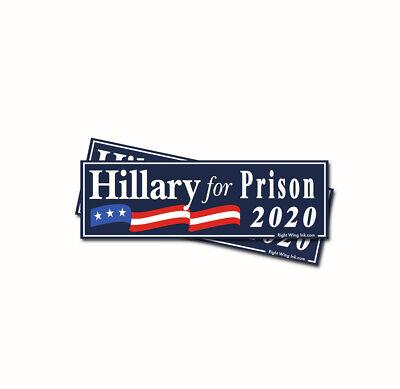 - Hillary For Prison Anti Hillary Bumper Sticker 2020 GOP Republican 2 Decals BLUE
