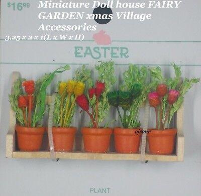 Miniature Dollhouse FAIRY GARDEN ~ Window Box with  Flower Pots ~ NEW