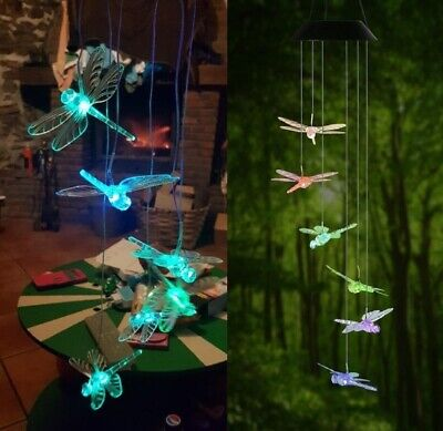 Dragonfly Wind Chimes (Dragonfly LED Color-Changing Power Solar Wind Chimes Yard Home Garden Decor)