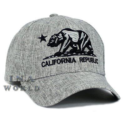 California Republic hat CA Bear Snapback Curved bill Baseball cap- Light Gray