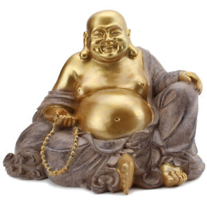 Feng Shui Gold Happy Face Laughing Buddha Figurine Statue Prosperity Home Decor