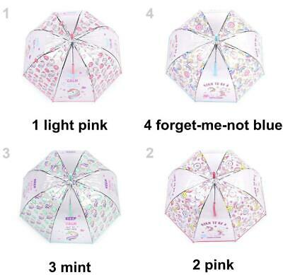 1pc Girls Transparent Auto-open Umbrella Unicorn Kids Umbrel