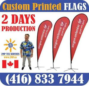 Custom Locally Dye-Sublimation Printed Promotional Advertising Double-Sided FLAGS in 2 Days Trade Show Fabric Stands