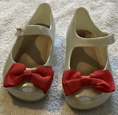 Authentic Mini Melissa Holiday Jelly Shoes With Red Bow Kids Size 10 Hardly Worn